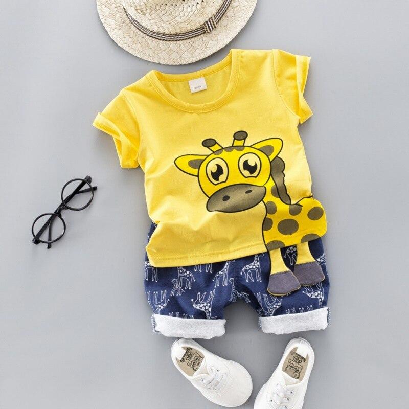 Sommer Kleinkind Kinder Kleidung Giraffe Set Baby Jungen Mädchen Trainingsanzüge Cartoon T-shirt + Shorts Kleinkind Kinder Outfit