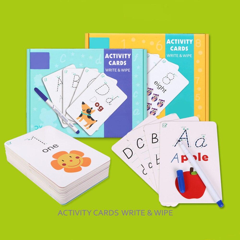 Juego de lápices para hacer ejercicio, juego de lápices, rompecabezas, tarjetas de escritura a mano para niños, práctica borrable