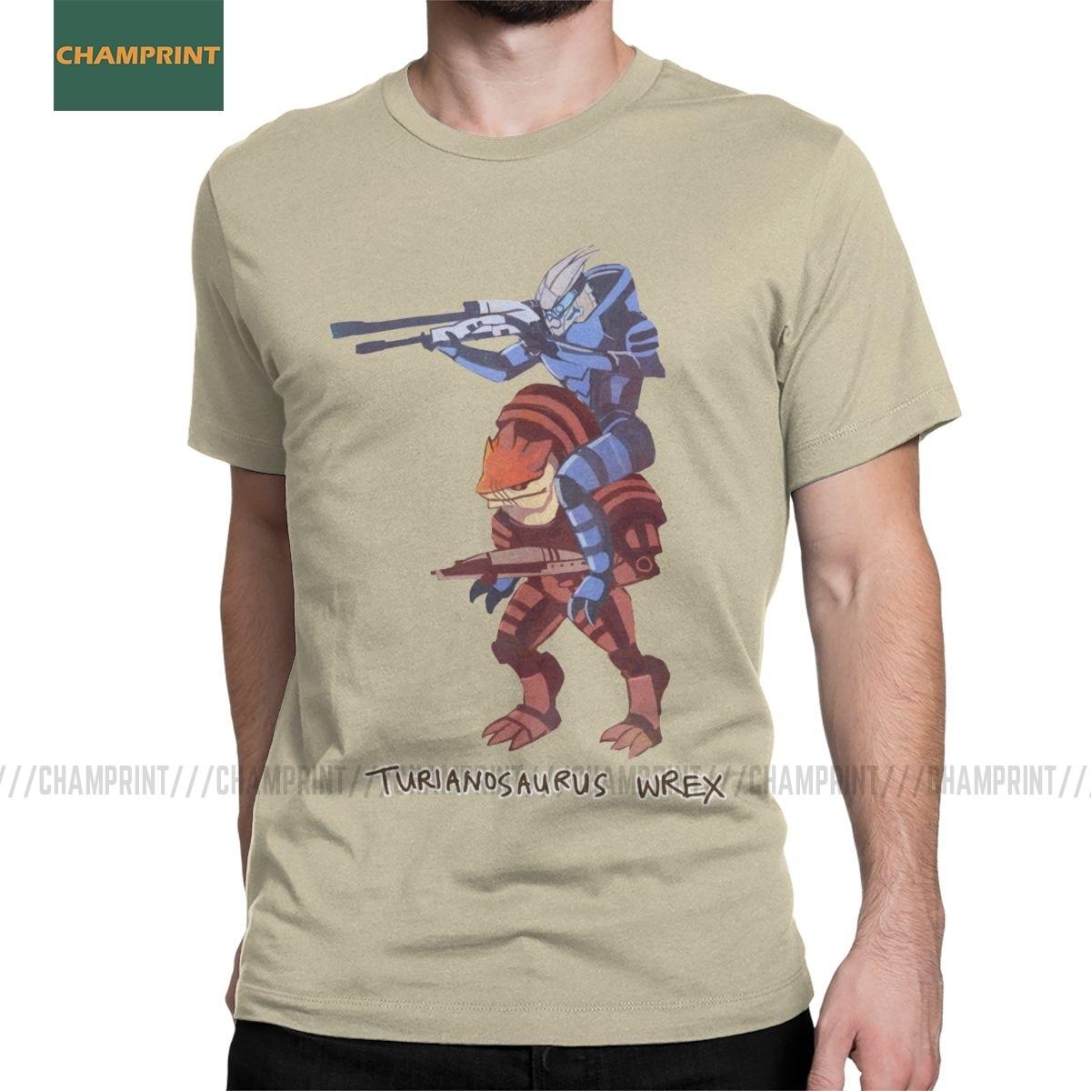 Turianosaurus Wrex Mass Effect Mens T Shirt Garrus Commander Reapers Mordin Game Tees Short Sleeve T-Shirts Cotton 4XL 5XL Tops