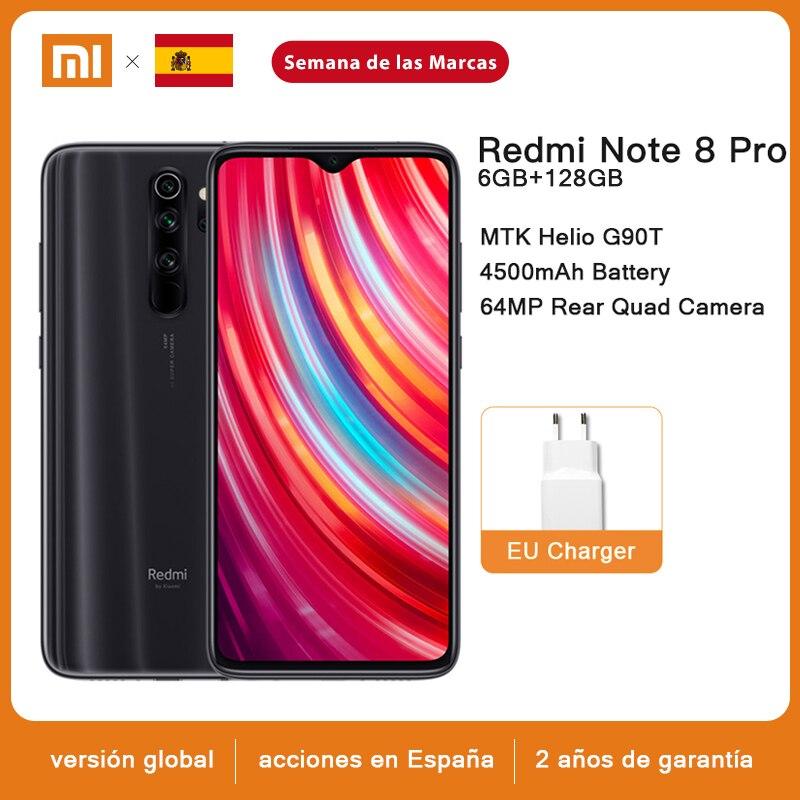 Versión Global Xiaomi Redmi Note 8 Pro 6GB RAM 64GB / 128GB ROM Smartphone 64MP Quad Cámara MTK Helio G90T 4500mAh 18W QC 3,0