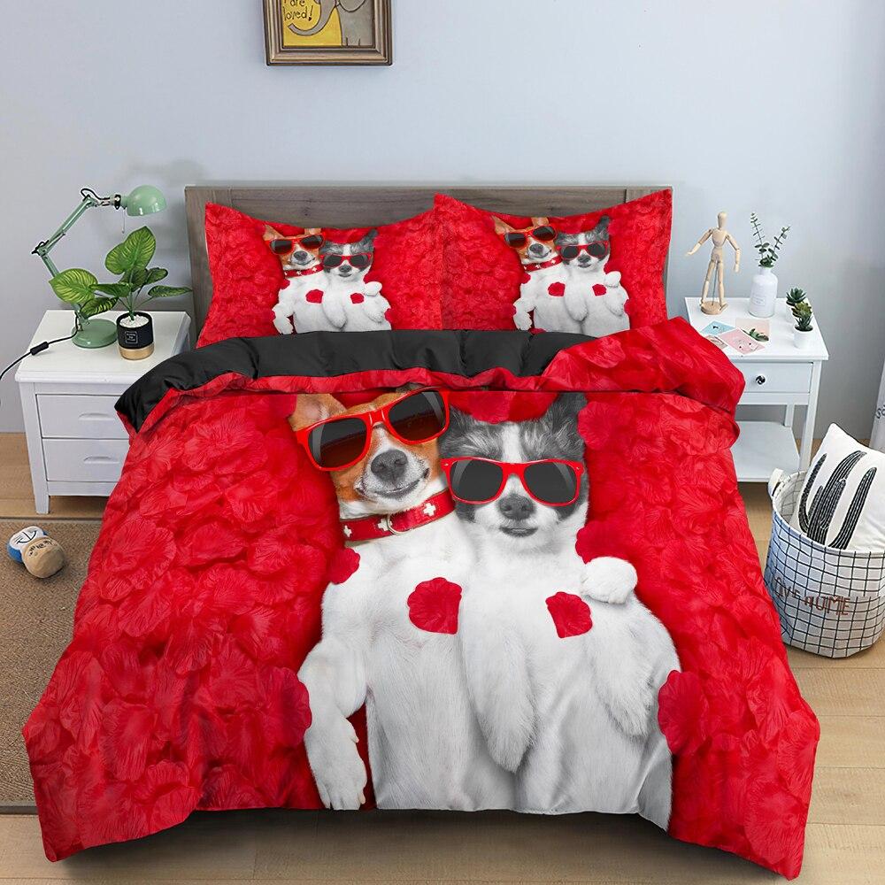 رومانسية الفرنسية البلدغ الكلب نمط حاف الغطاء طقم سرير الملك الورود خلفية غطاء لحاف ل عيد الحب الحاضر المفارش