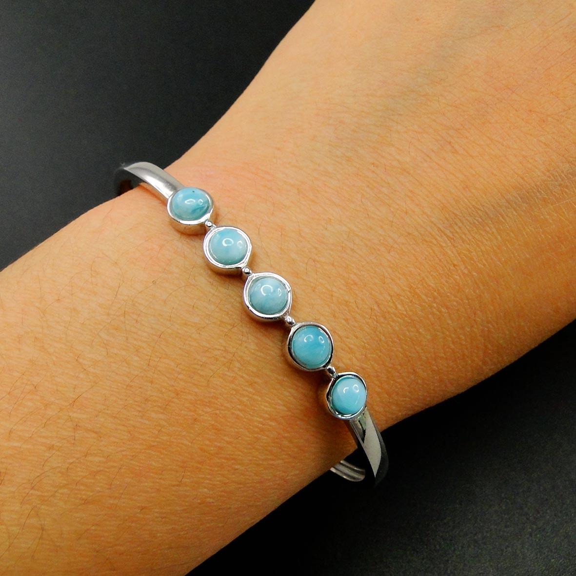 سوار لاريمار من الفضة الإسترليني عيار 100% ، مجوهرات فاخرة عالية الجودة ، هدية للنساء ، 925