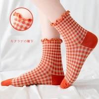 retro plaid socks ladies ins trendy tube socks harajuku korean lace loose mouth design wood ears cute sock women confinement sox
