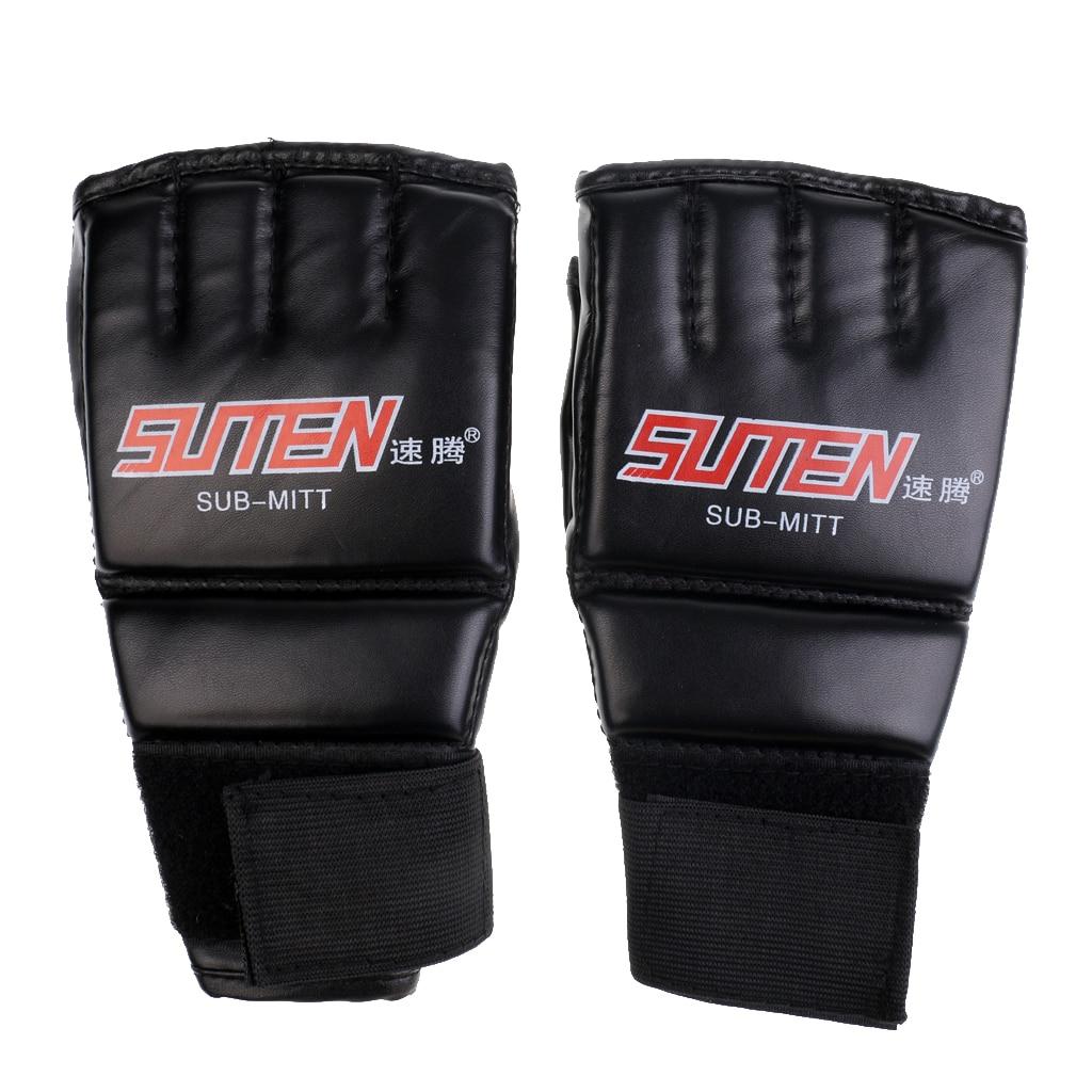 MMA guantes de agarre poliuretano genial guantes de medio dedo transpirables bolsa para golpes de boxeo