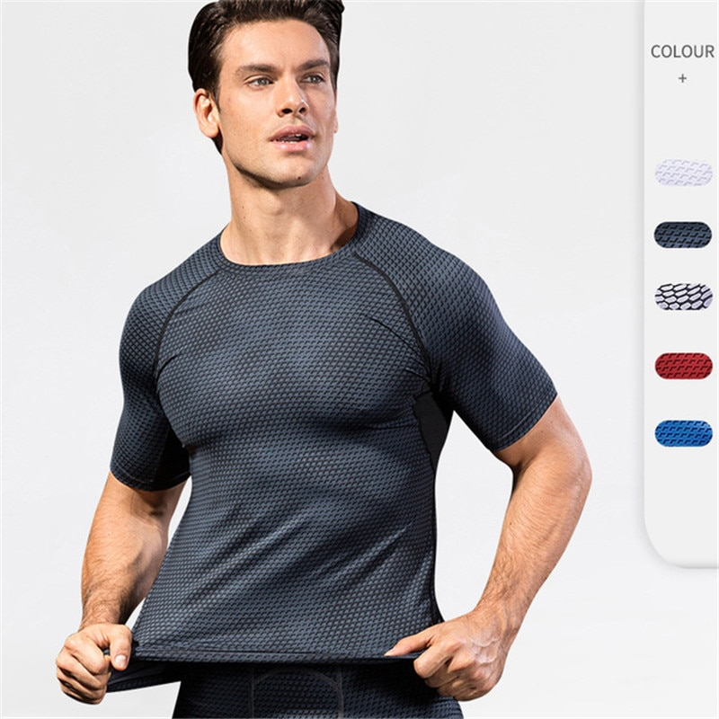 Quick Dry Running Compression Shirt Men Short Sleeve Bodybuilding Fitness Tops Sportswear High Elastic Gym Workout Training Tees