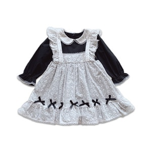 Spring Lolita Girl Dress Cotton Princess Kids Patchwork Dresses Baby Fashion Clothes Cute Peter Pan Collar Toddler Outfits