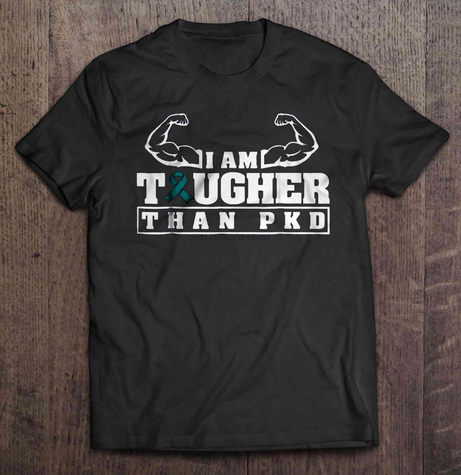 Camiseta feminina engraçado t camisa de moda eu sou mais resistente do que pkd-doença renal policística