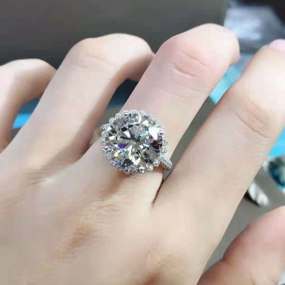 Wong Rain 925 Sterling Silver 8 CT Round Cut D Created Moissanite Gemstone Engagement Customized Ring For Women Fine Jewelry