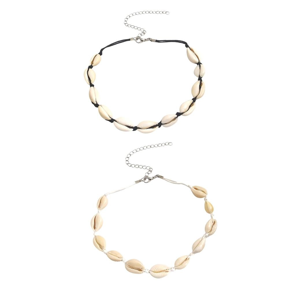 2 piezas gargantilla playa Shell collar oro Seashell Collares Set joyería para mujeres y niñas Collares De Moda accesorios mujer a1