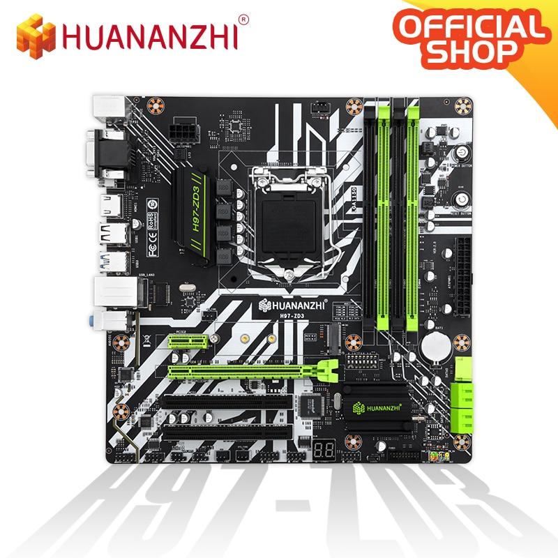 HUANANZHI H97 ZD3 H97 motherboard LGA 1150 M-ATX SATA3 USB3.0 NVME NGFF M.2 SSD support non-ecc RAM core i3 4130 i5 4460 i7 4770