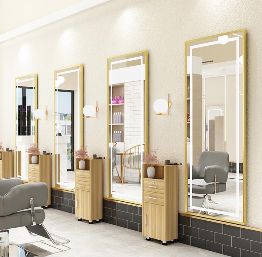 Парикмахерское зеркало в магазине чистый красный Парикмахерское зеркало специальное освещение светодиодный Напольное Зеркало для парикм...