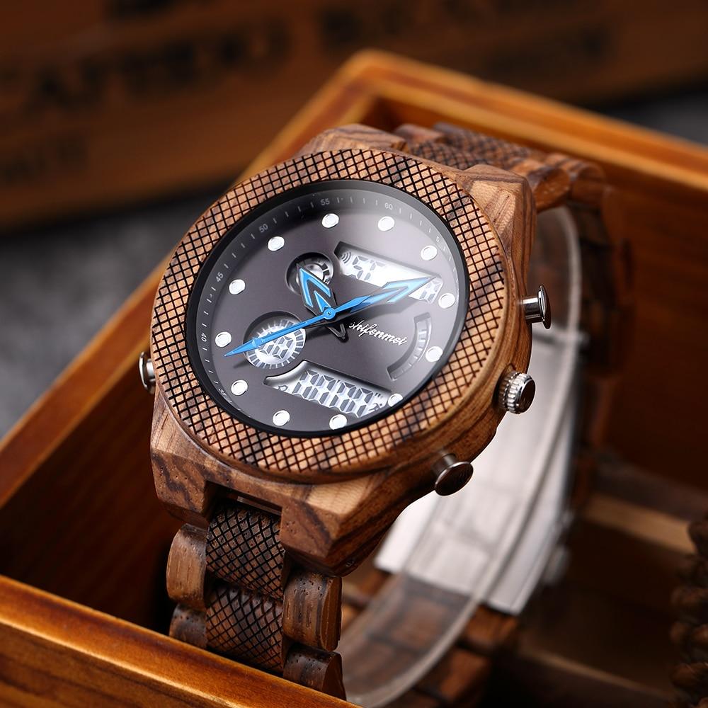 Shifenmei relógio de madeira de luxo marca relógios masculinos esportes led digital quartzo militar relógio de pulso masculino 2020