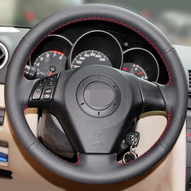 GNUPME DIY Artificial Leather Steering Cover Black Car Steering Wheel Cover for Old Mazda 3 Mazda 5 Mazda 6 Pentium B70