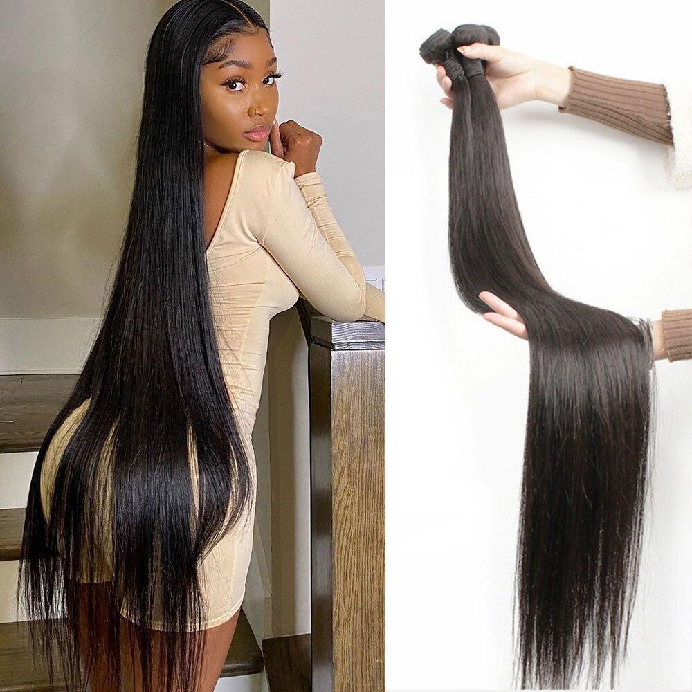 Bone Straight Human Hair Bundles 30 32 34 36 38 40 Inch Brazilian 100% Human Hair Remy Extensions We