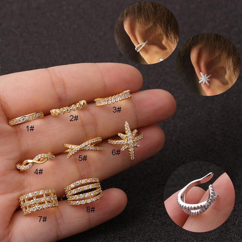 1 Uds cobre Simple corona de hojas CZ sin Piercing oreja Clip pendiente de las mujeres de moda lindo pequeño y dorado Cruz círculo pendientes