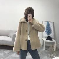 real fur coat women vintage autumn winter coat women short korean oversize wool jacket abrigos mujer invierno 2020 yy680