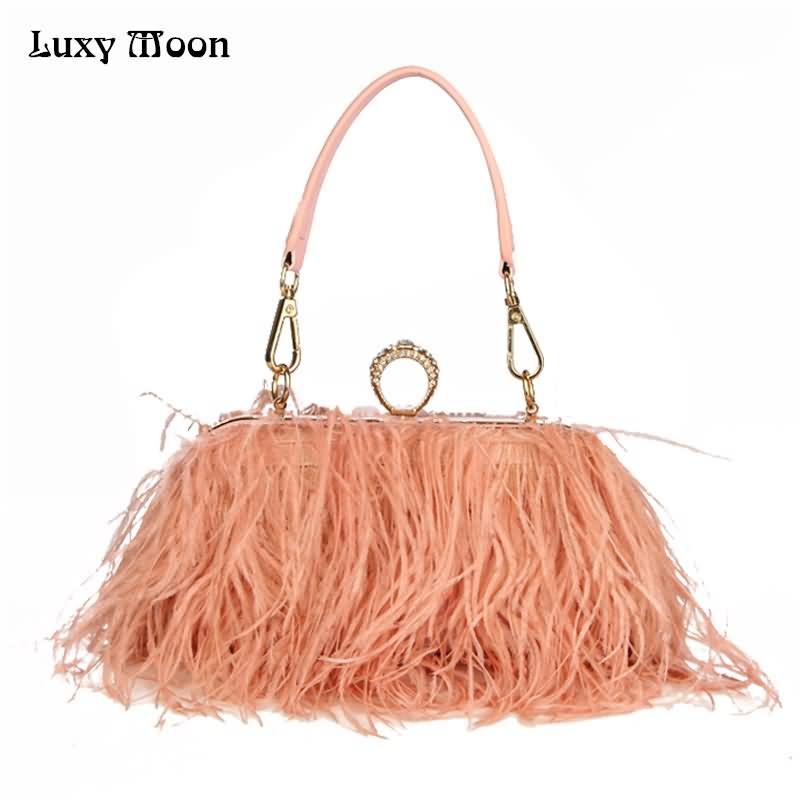 Luxy Moon Designer Ostrich Fur Feather Wallet Clutch Bag Women Clutch Diamond Knuckle Rings Dinner Evening Bag Chain Purse ZD855