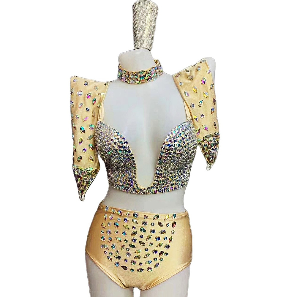 ساطع الماس عارية الذراعين بيكيني أغطية الرأس المختنق المرأة البرازيلي السراويل القطب الرقص وتتسابق ملهى ليلي المغني الأداء المرحلة ارتداء