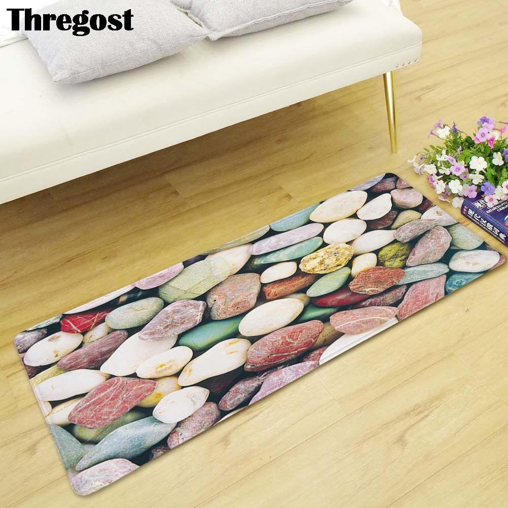 3D Printed Kitchen Floor Carpet Anti-slip Area Rug Modern Living Room Bedroom Carpet Bedside Mat Bathroom Foot Rug Home Door Mat