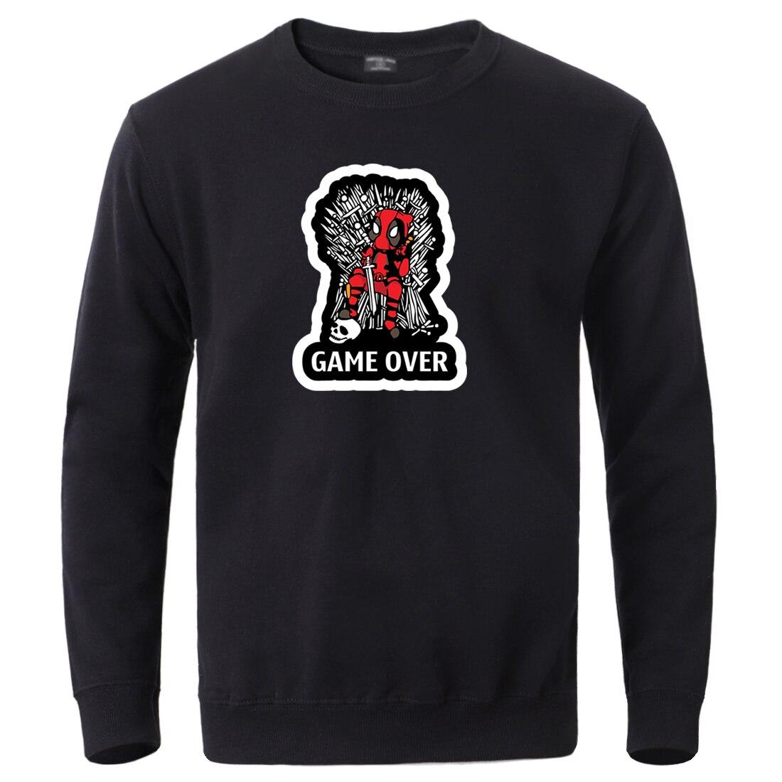 Marvel Deadpool Mens Winter Fleece Sweatshirt 2020 Hot Sale Round Neck Streetwear Hoodie Long Sleeve Work Out Tracksuit Pullover