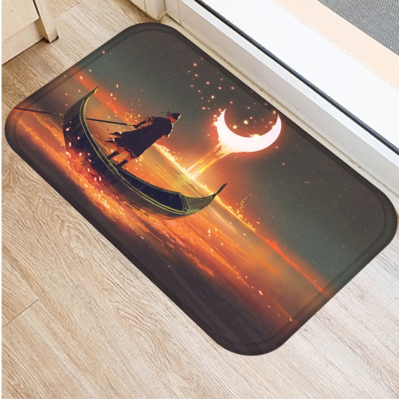 Felpudo de estrellas nórdicas de ensueño alfombra de baño suave de franela alfombra de baño alfombra de entrada interior alfombra de decoración del hogar 40x60cm