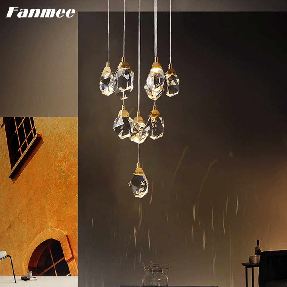 Modern Crystal Chandelier Lighting LED Cut Crystal Villa Hanging Lamp Indoor Stairs Pendant Light Kitchen Island Light Fixture
