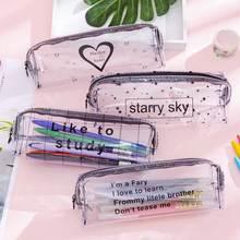 Kawaii Starry Sky Heart Pencil Case for Girls Boys Gifts School Cute Transparent Pencil Box Pencilca