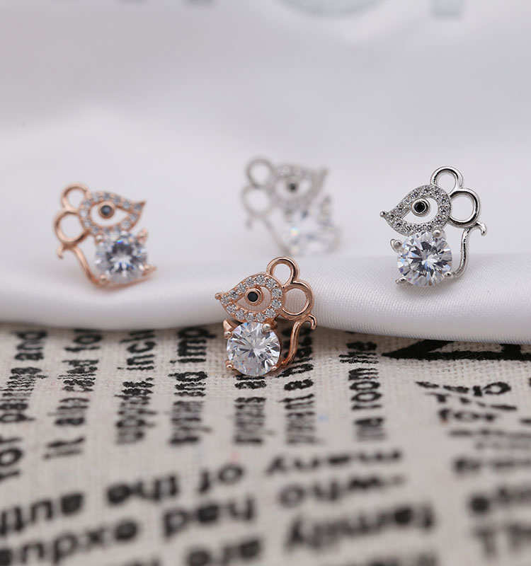 Cute Female Small Mouse Stud Earrings Silver Color Rose Gold Earrings  Jewelry Vintage Wedding Earrings For Women