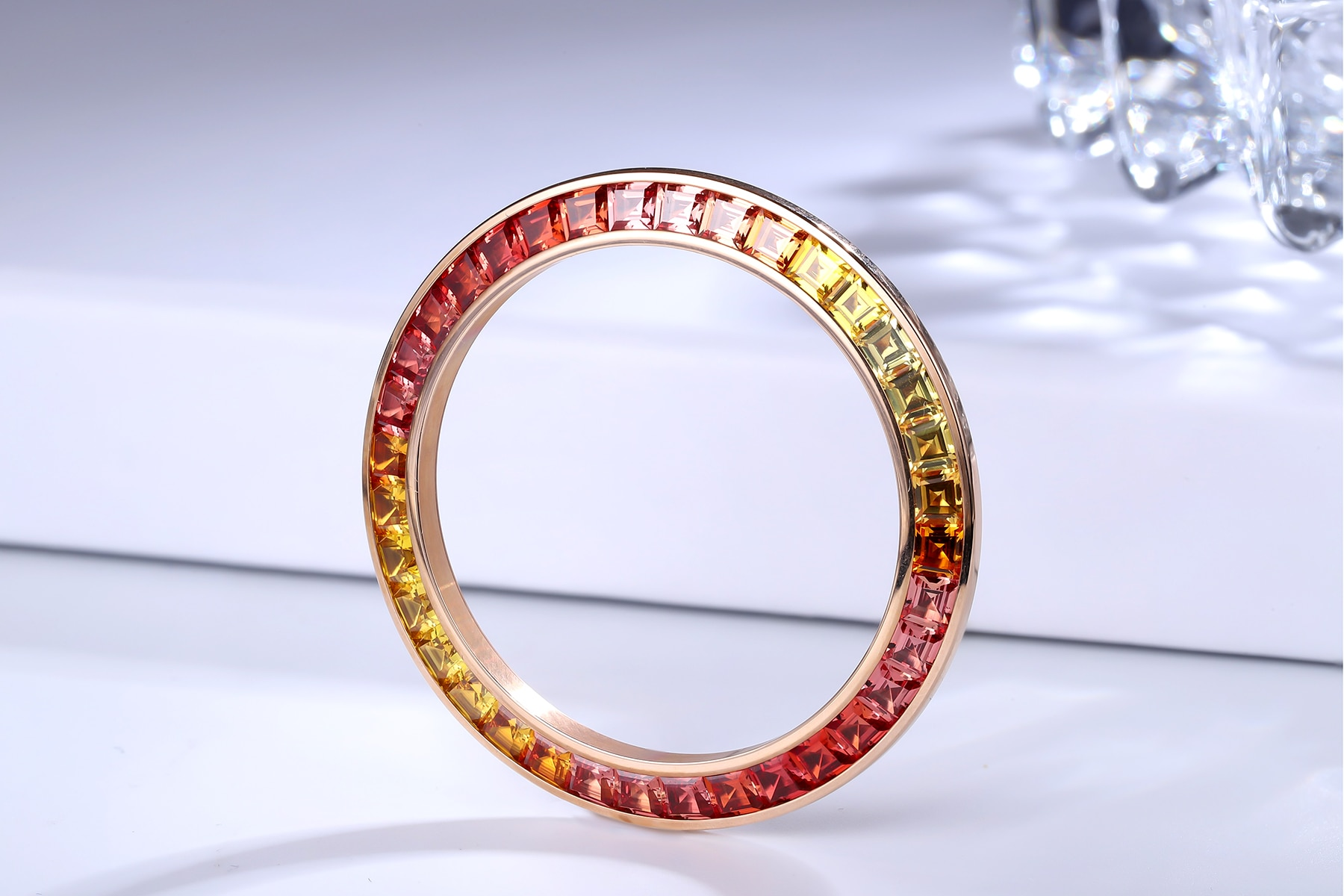 2021 Precision-cut Equal Size Perfect Color Gradiation Rainbow Created Sapphire Watch Bezel for Watchmakers