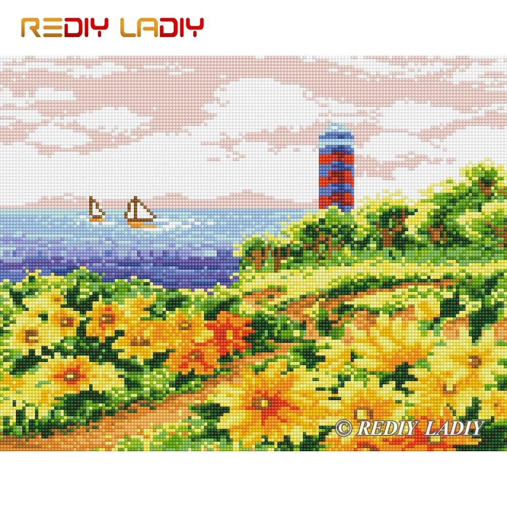 Высокое качество Алмазная картина цветущее побережье полная круглая Алмазная вышивка бисером вышивка крестом пиксельный мозаичный узор Д...