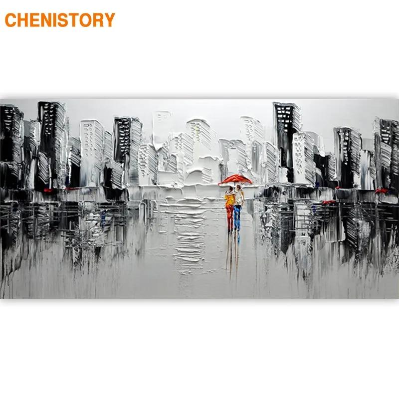 CHENISTORY – cadre de ville moderne abstraite par numéros, peinture acrylique sur toile, tableau d'art mural pour salon, 60x120cm