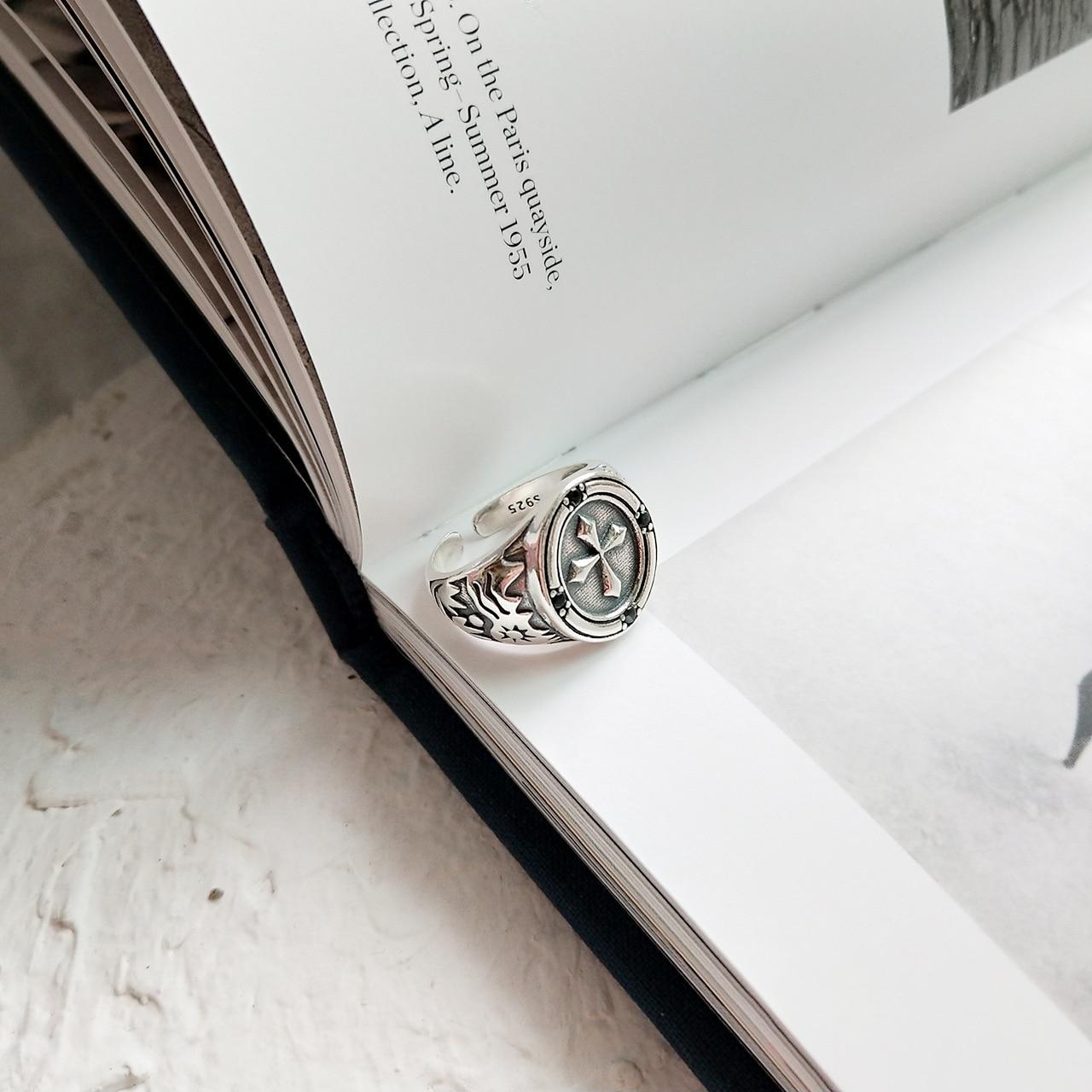 Anillo coreano de Plata de Ley 925 anillo de Cruz Retro anillo de plata de apertura Vintage anillo de Cruz Retro al por mayor