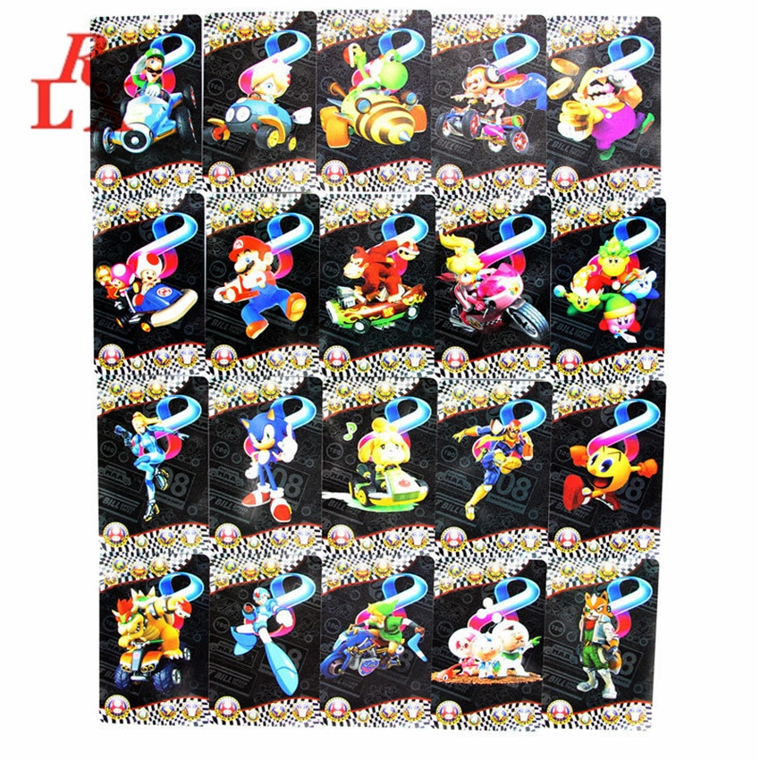 20 unids/set exquisito Mario Kart 8 tarjetas de juego NFC Ntag215 pegatinas de impresión Tarjeta de etiqueta de PVC para tarjeta Amiibo NS Switch WiiU 3DS