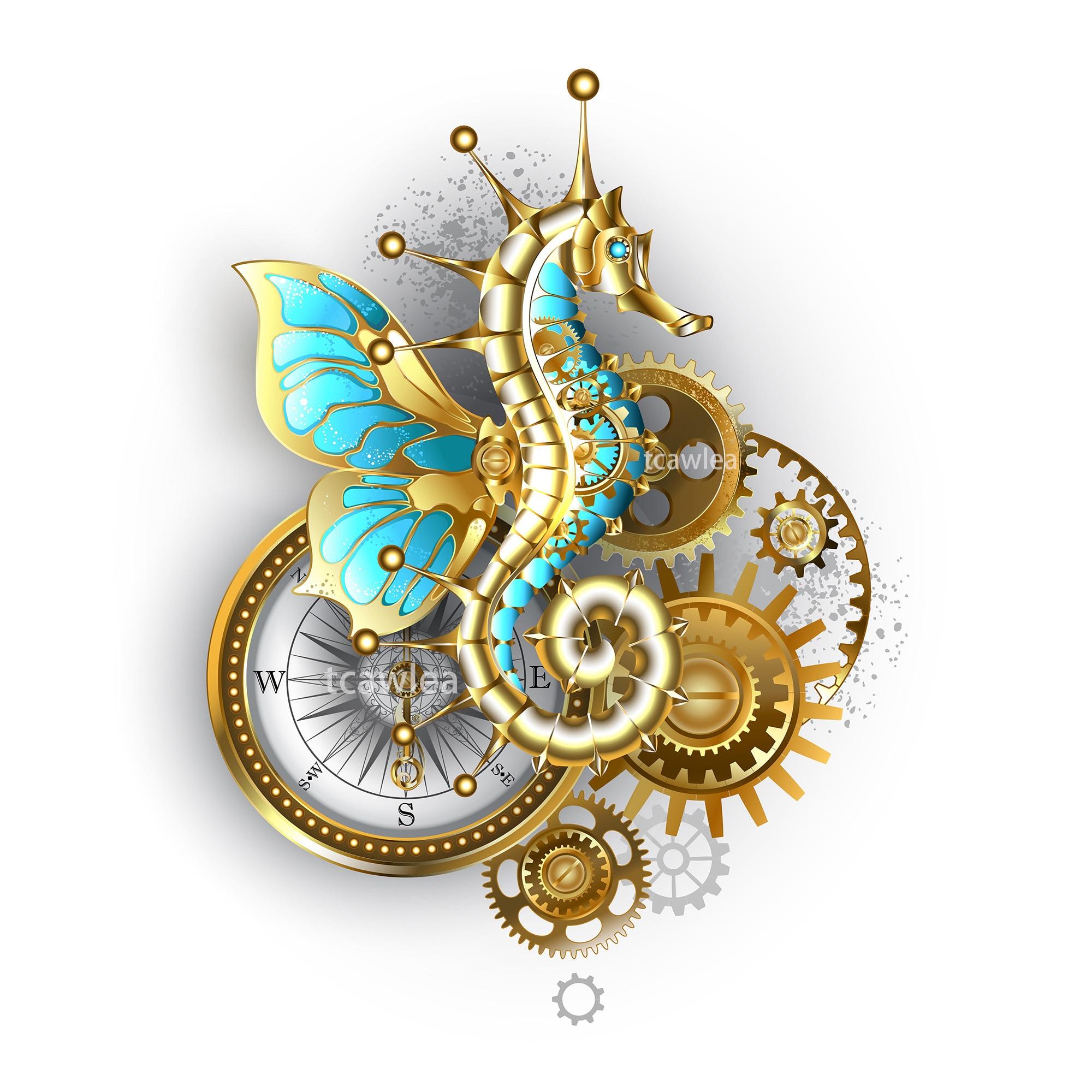 Steampunk Flying Hippocampus Metal Cutting Dies Ocean Gear Animal Stencil For DIY Scrapbooking Card