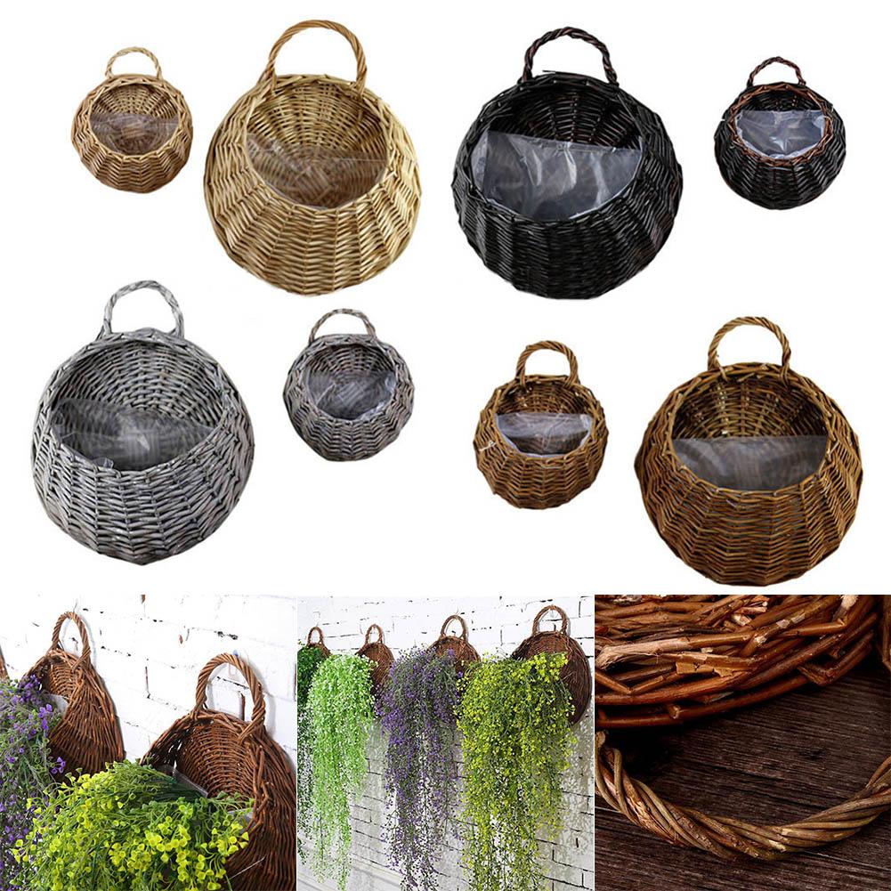 Birds Nest Wall Hanging Basket Wicker Gardening Home Garden Wedding Wall Decoration TN99