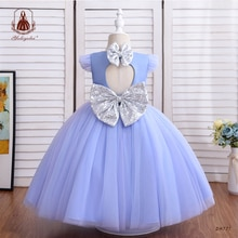 Yoliyolei Solid Wedding Dress Stylish children's Bridesmaid Evening Flower Girl Dresses 3-10 Years K