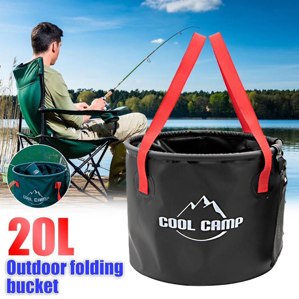 Cubo plegable de 20L, bolsa impermeable, cubo plegable portátil, bolsa de Turismo de Cuenca plegable para acampar, viajar, pesca y jardinería