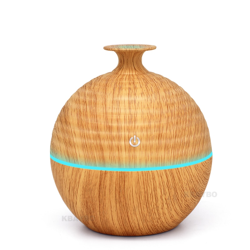 USB Evaporative Humidifie 130ml Aroma Diffuser Essential Oil Diffuser Aromatherapy mist maker with LED Light Wood grain
