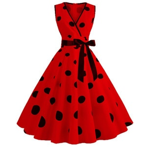 Dresses For Women 2021 Elegant Tank Dress Vintage Dresses Casual Sleeveless Slim V-neck Retro Polka Dot Print Evening Dresses