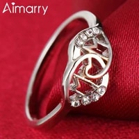 aimarry 925 sterling silver 18k gold aaa zircon love mom ring for women mothers day gift charm party fashion jewelry