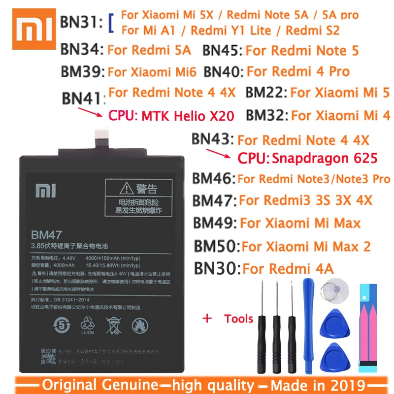 Xiao Mi Original Phone Battery BM47 For Xiaomi Redmi 3 3S 3X 4X 3 pro Note 3 5 5A Pro Mi 5X BN31 BM46 BN45 Replacement Batteries