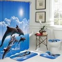 Ensemble de salle de bain imprime delephant 3D  rideau de douche avec 12 crochets  tapis de piedestal  couvercle de toilette  tapis de bain