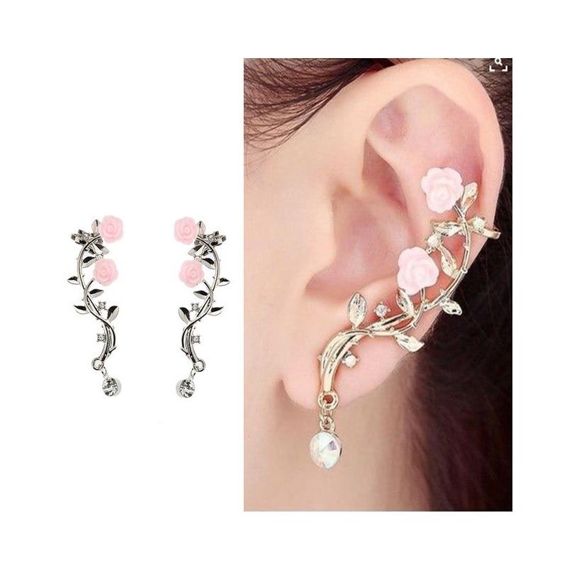 Aretes pendientes Oorbellen carácter de las mujeres del estilo de Clip de oreja pendientes rosas Rama de aleación de velocidad vender Tong pendiente adornos