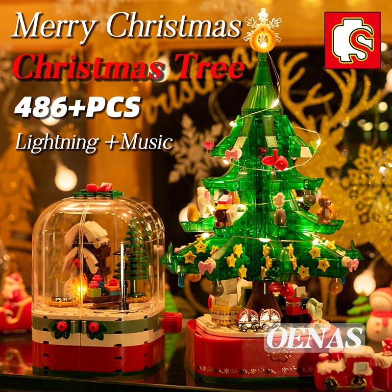 SEMBO مدينة MOC الأفكار مع الإضاءة صندوق تشغيل الموسيقى شجرة عيد الميلاد اللبنات لتقوم بها بنفسك نموذج طفل الفتيات الفتيان اللعب الإبداعية الأط...