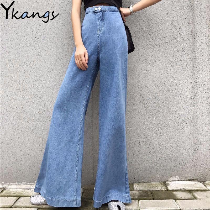 Pantalon évasé en Denim taille haute ample femmes Streetwear bleu Sexy Vintage large maman jean Femme pantalon évasé cloche bas jean automne