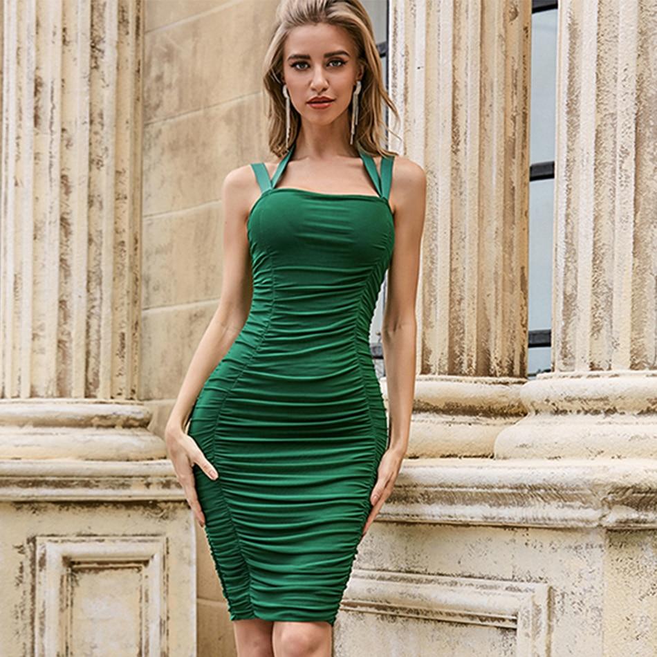 Adyce 2020 novo verão verde sem mangas bodycon bandage clube vestido sexy feminino halter drapeado celebridade runway vestido de festa