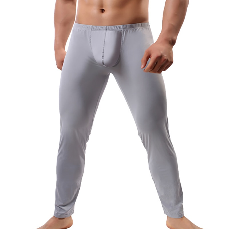 Mens Sleep Bottoms Pijama Hombre Big Penis Pouch Ice Silk Pajama Lounge Pants Ultra-thin Pyjama Homm