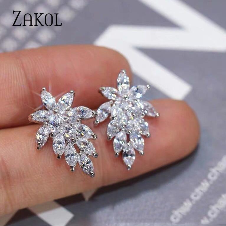 Женские серьги-пусеты ZAKOL, модные серьги-пусеты с фианитом для свадьбы, вечеринки, дня рождения, FSEP558