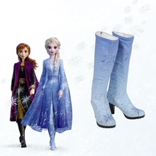 Reine Elsa Cosplay deguisement Halloween deguisement pour femmes talons hauts princesse Anna bottes adulte fantaisie Elza bleu chaussures fille