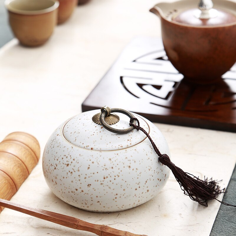 Caja de té de cerámica elegante tarro de especias, caja de azúcar Tempero de decoración de cocina tarro Saleratus, tarro de té, potes de cozzha armazenamento